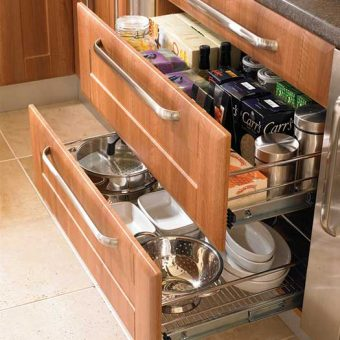 Kitchen Wire Basket Individual Drawers with Brackets for Fronts