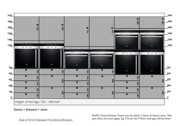 tall oven housing unit door drawer sizes