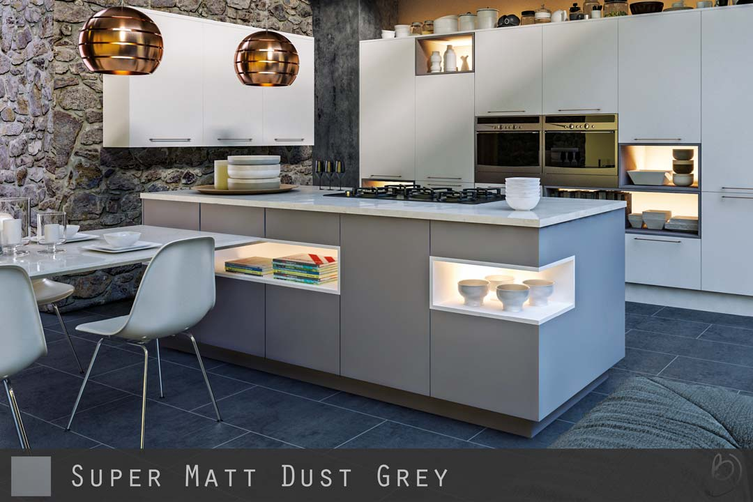 Super Matt Dust Grey Kitchen Doors Cabinetsanddoorscouk - Matte grey kitchen