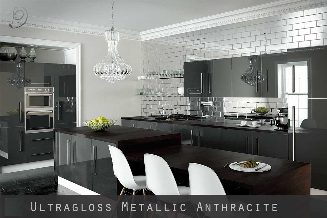 Ultra High Gloss Metallic Anthracite Kitchen Doors - Anthracite grey kitchen