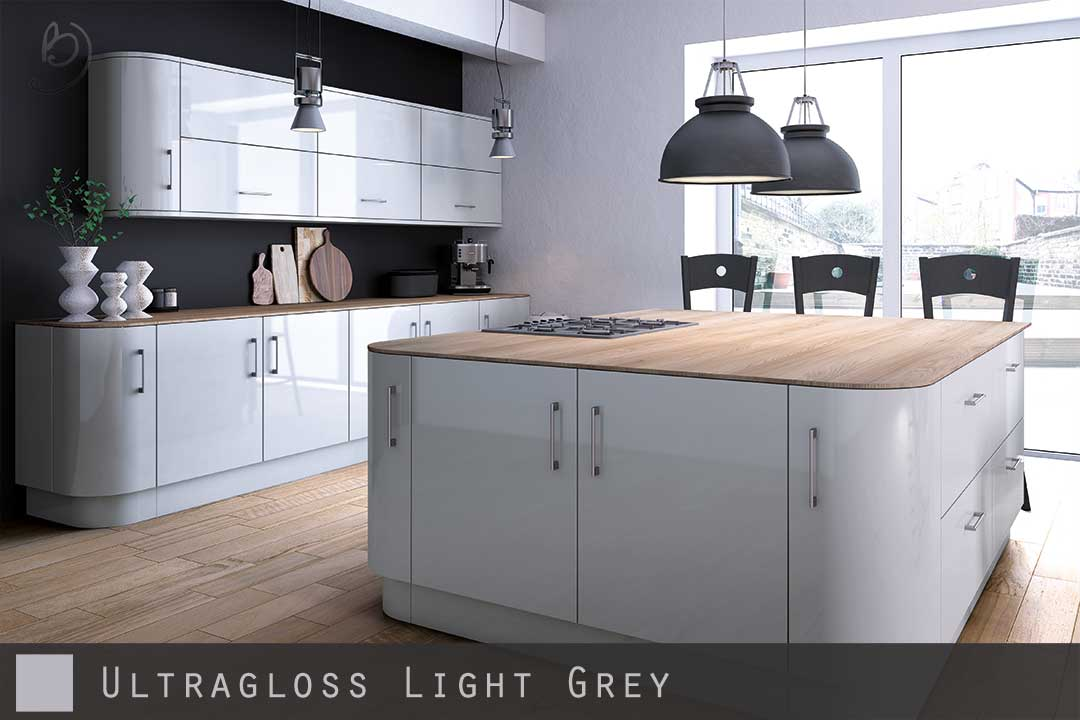 Ultra high gloss light grey kitchen doors for High level kitchen units