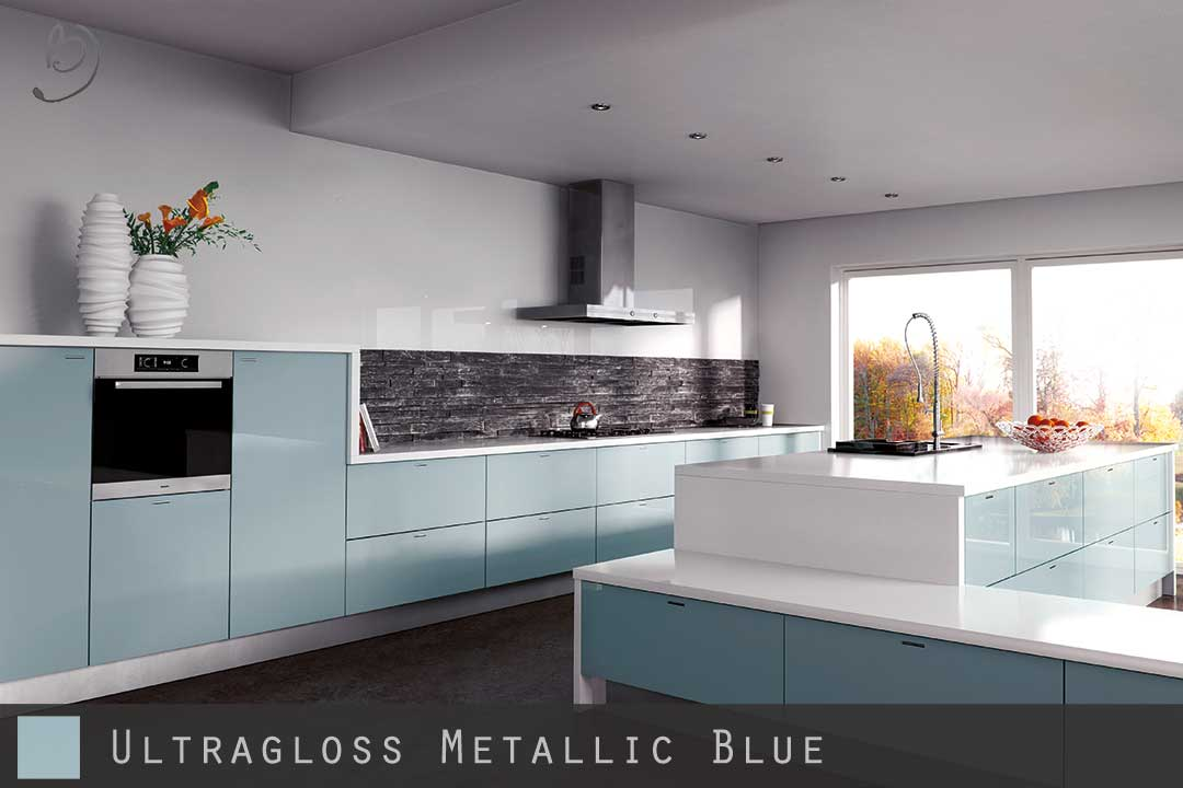 Ultra High Gloss Metallic Blue Kitchen Doors