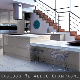 High Gloss Metallic Champagne Kitchen Doors