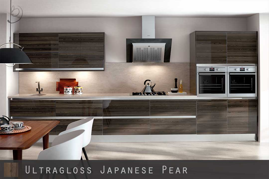Merveilleux High Gloss Woodgrain Japanese Pear Kitchen Doors