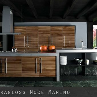 High Gloss Woodgrain Noce Marino Kitchen Doors