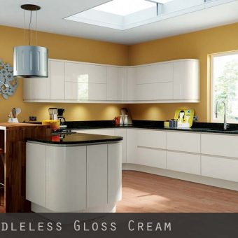 High Gloss Cream Handleless Kitchen