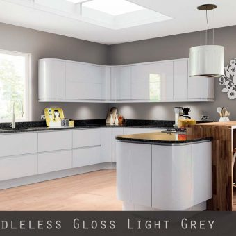 High Gloss Light Grey Handleless Kitchen