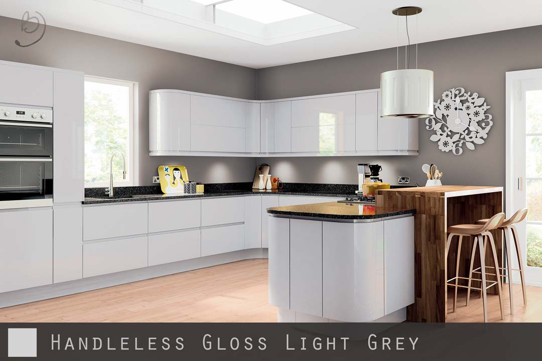 high gloss grey handleless kitchen
